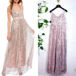 NWT Crystal Doll Sparkle Blush Shimmer Gown MEDIUM
